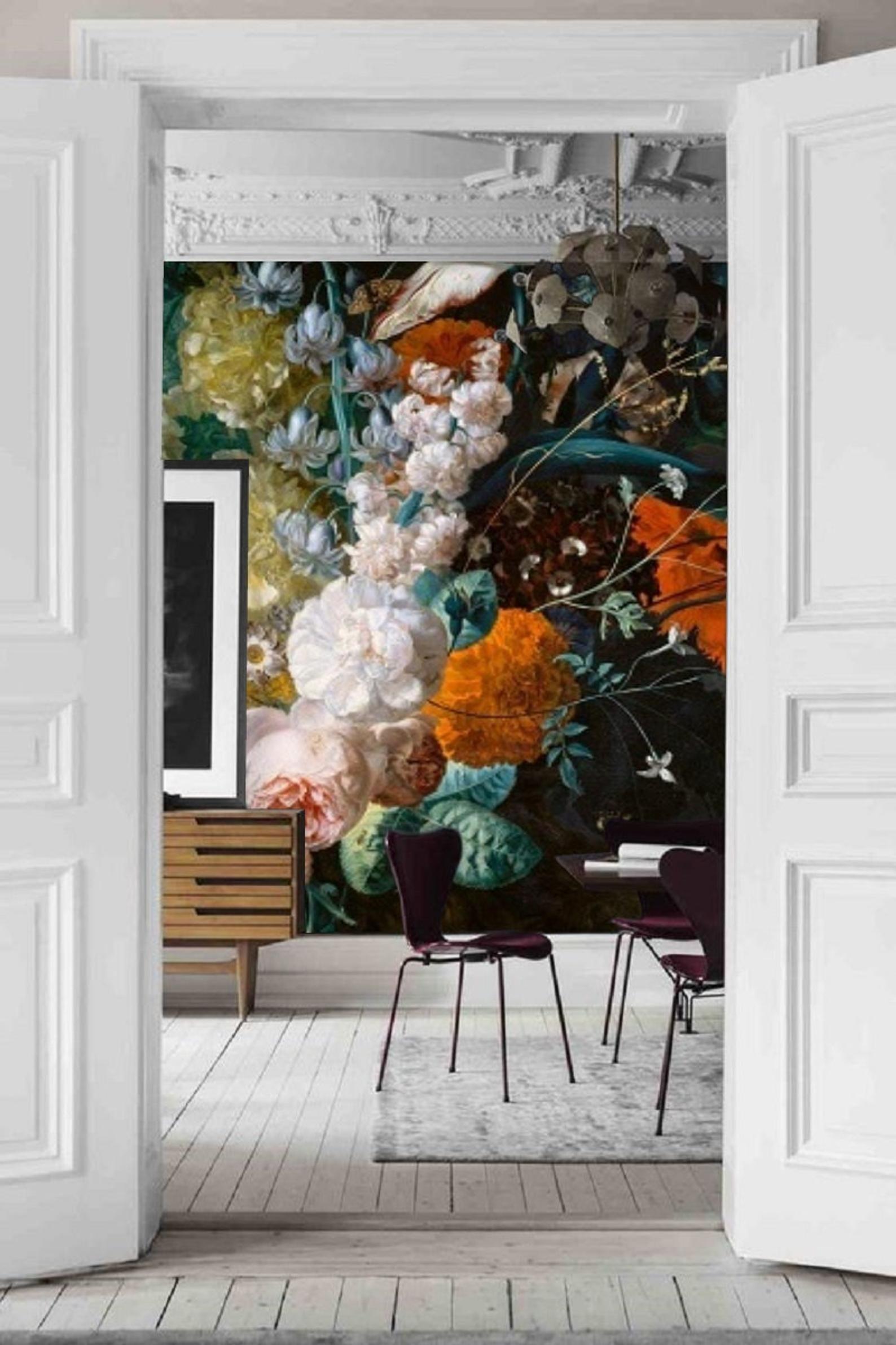 Dark Dutch Wallpaper, Removable Mural, Still Life Flowers