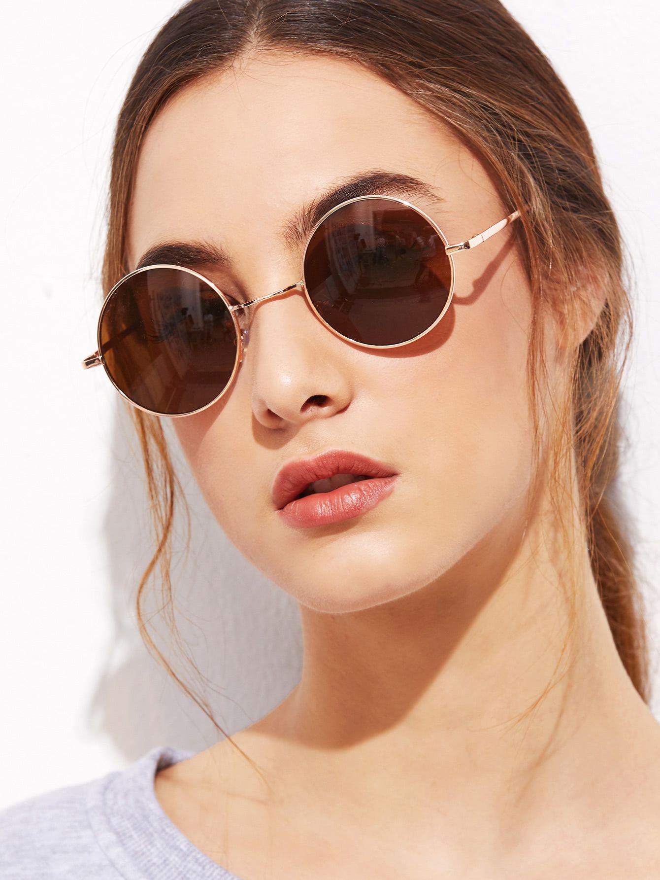 92390cccb4d Gold Frame Brown Round Lens Sunglasses -SheIn(Sheinside)