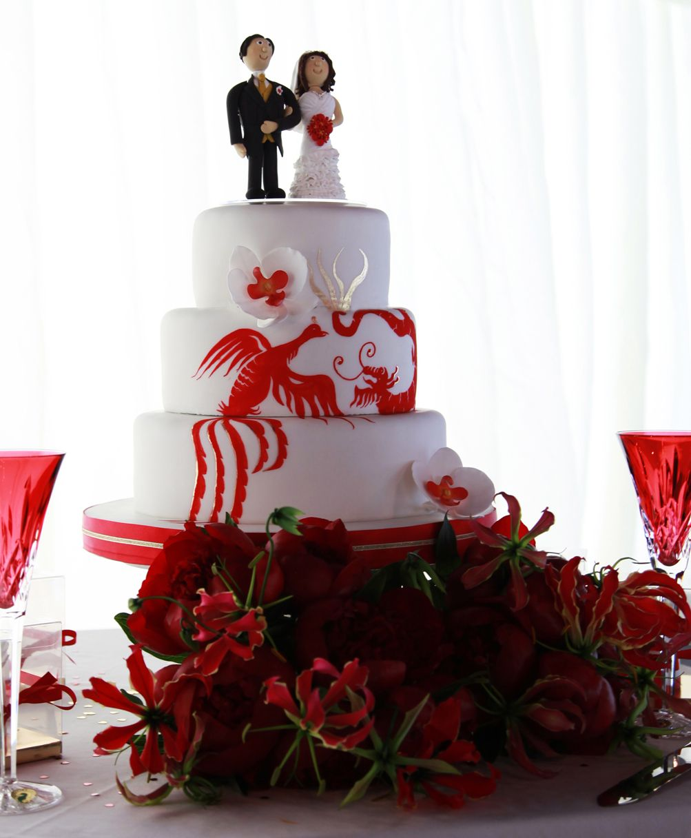 Dragon Phoenix Orchid Wedding Cake