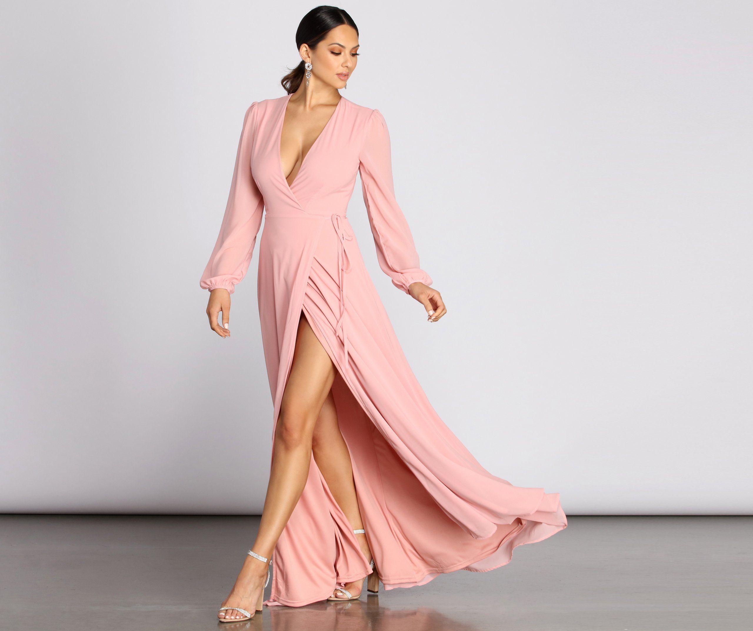 Jordan Chiffon Wrap Dress In 2020 Pink Long Sleeve Dress Long Sleeve Wrap Dress Pink Wrap Dress [ 2145 x 2560 Pixel ]