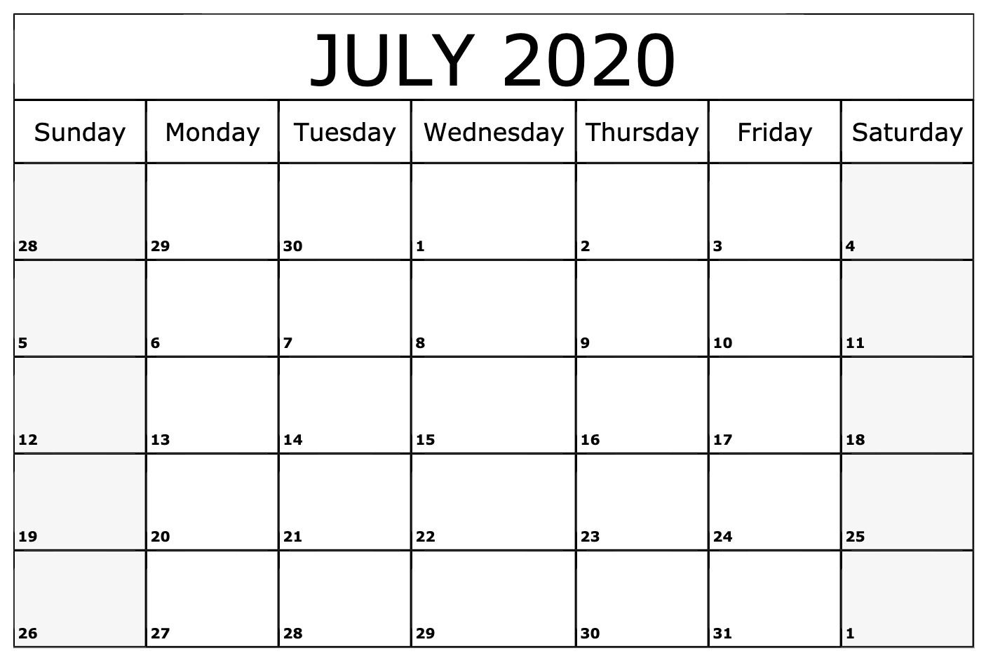 July 2020 Calendar Printable Blank Template With Notes 2020