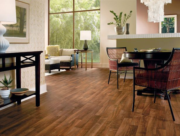 autumn spice wood linoleum flooring for the kitchendining room and