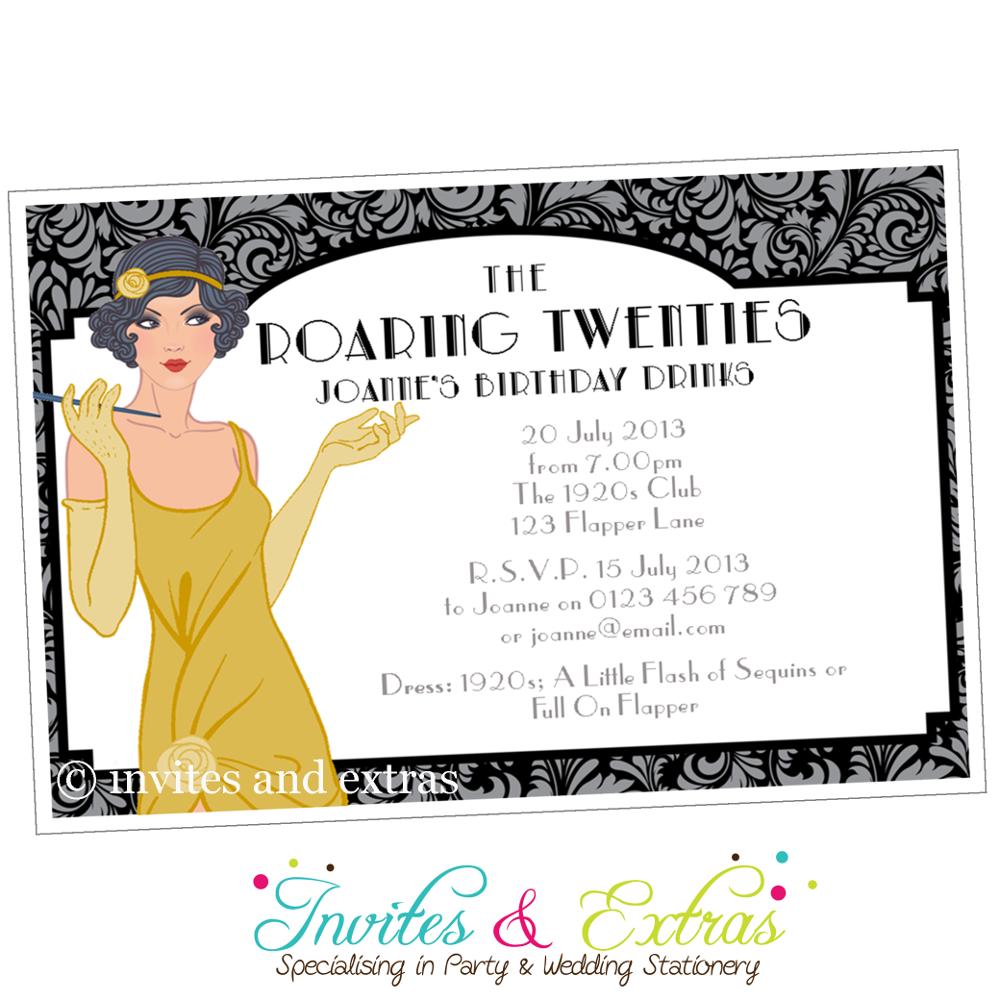 Roaring Twenties Party Invitation in Gold   Roaring 20\'s   Pinterest ...