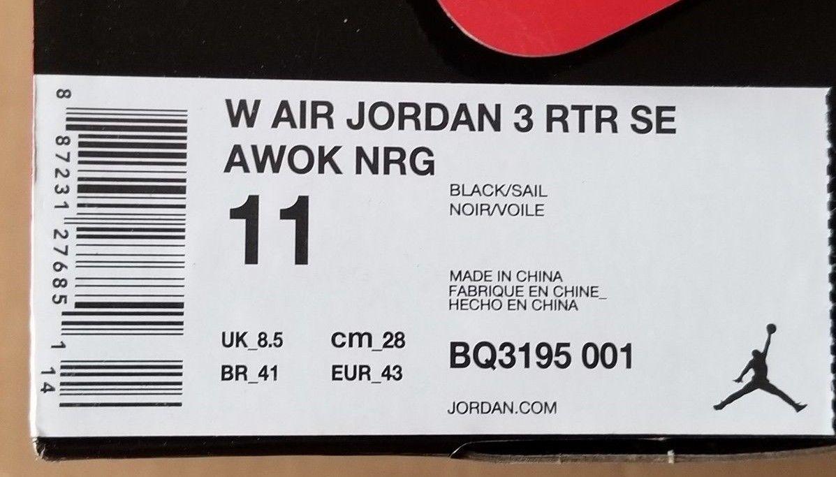 16363040339 Nike Air Jordan 3 Retro SE AWOK NRG Vogue Womens Size 7-11 Black Sail