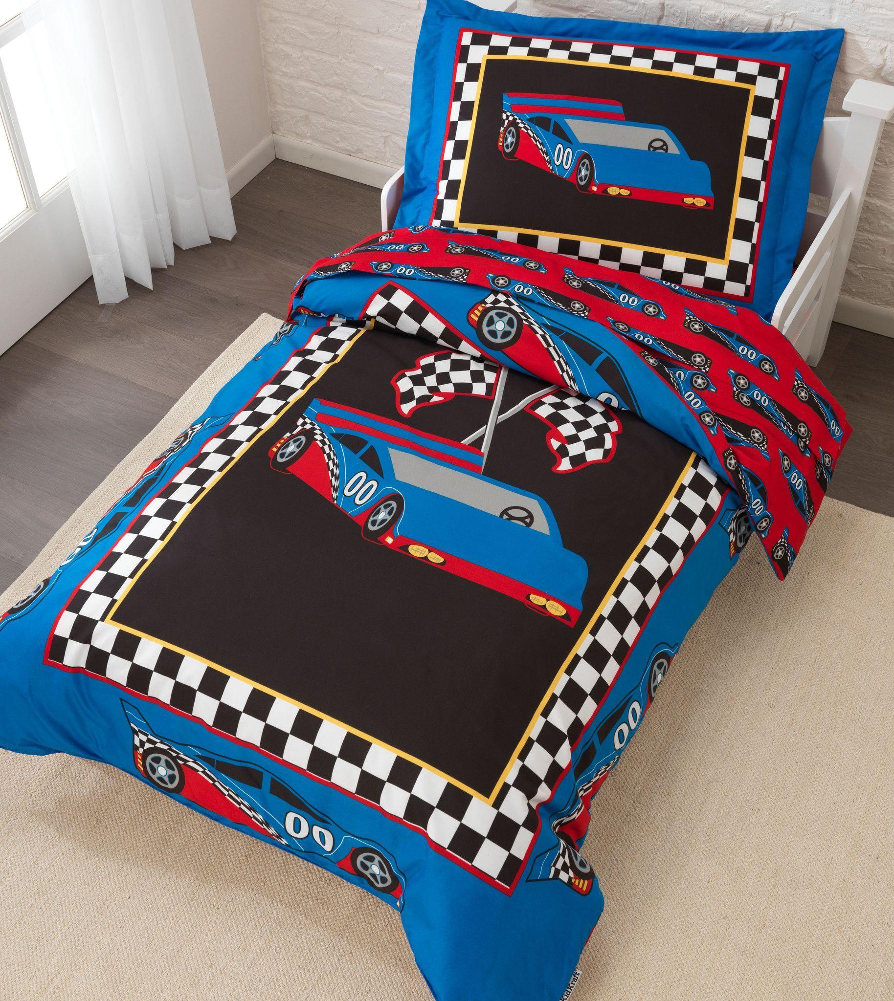 Kid Kraft Racecar Toddler Bedding 4 Pc Set 77005 Toddler Bed Set Race Car Toddler Bed Toddler Bed