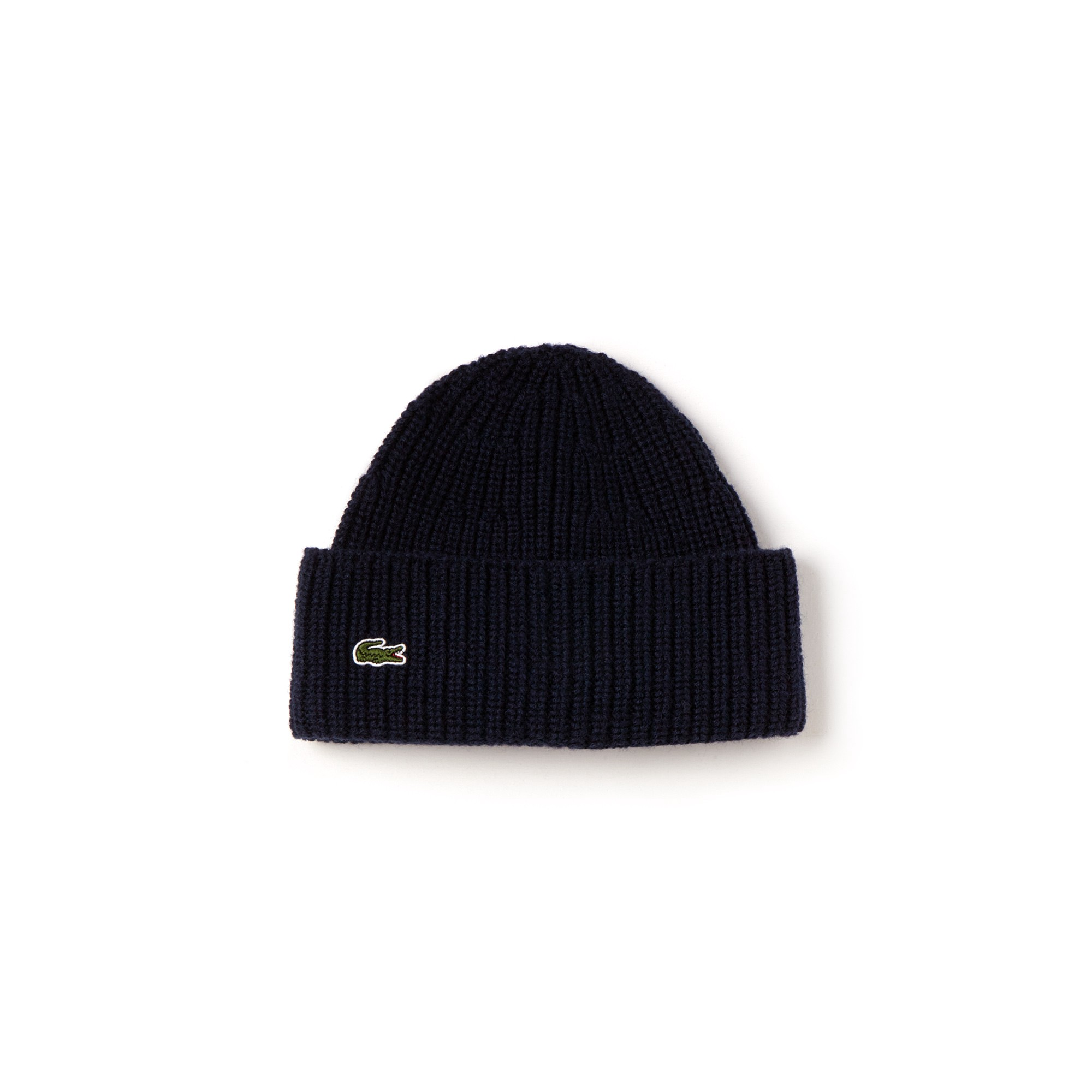 f065571a4d Lacoste Men's Turned Edge Ribbed Wool Beanie - Navy Blue/Navy Blue ...