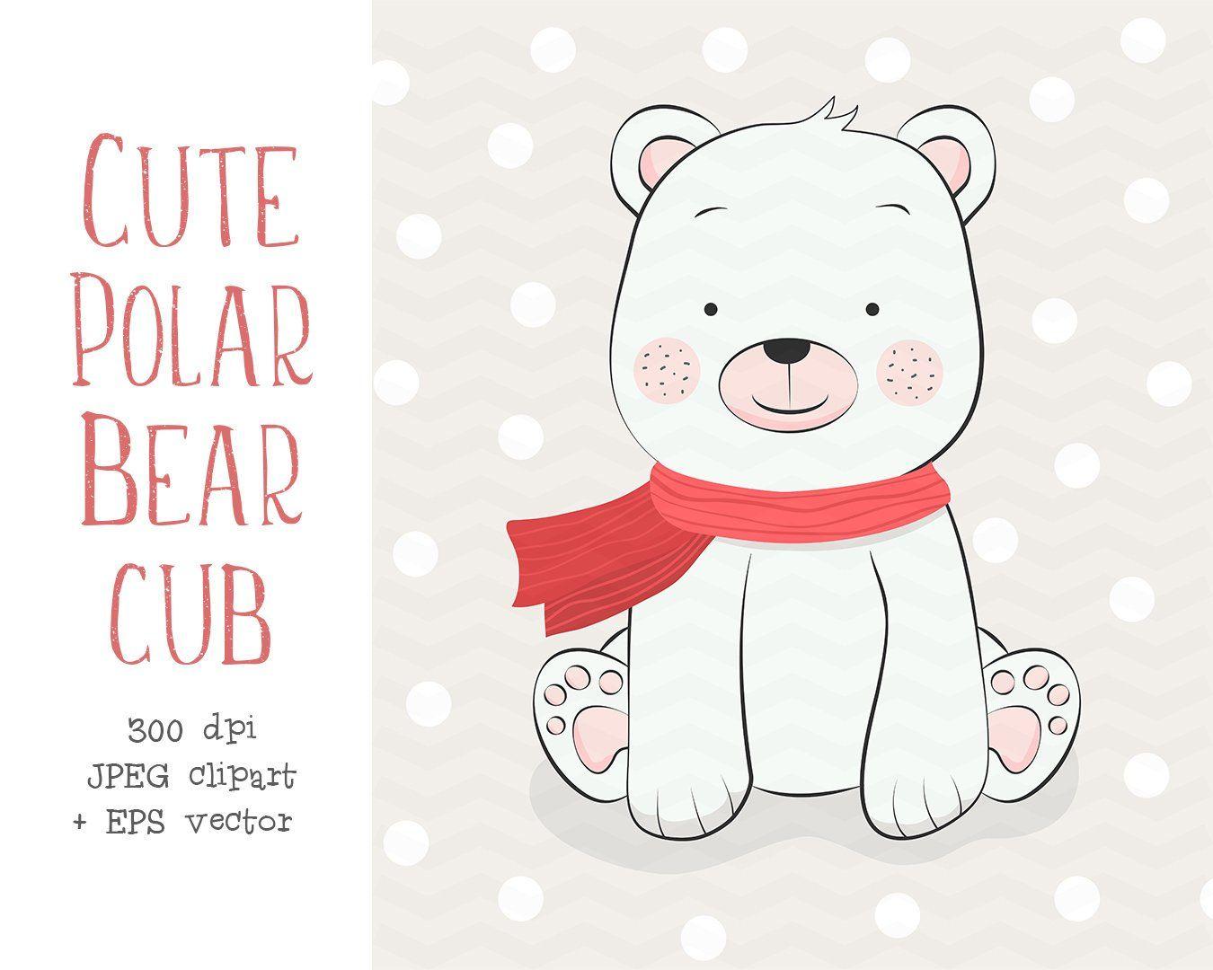 Cute Polar Bear Cub Clipart Polar Bear Illustration Hand Drawn