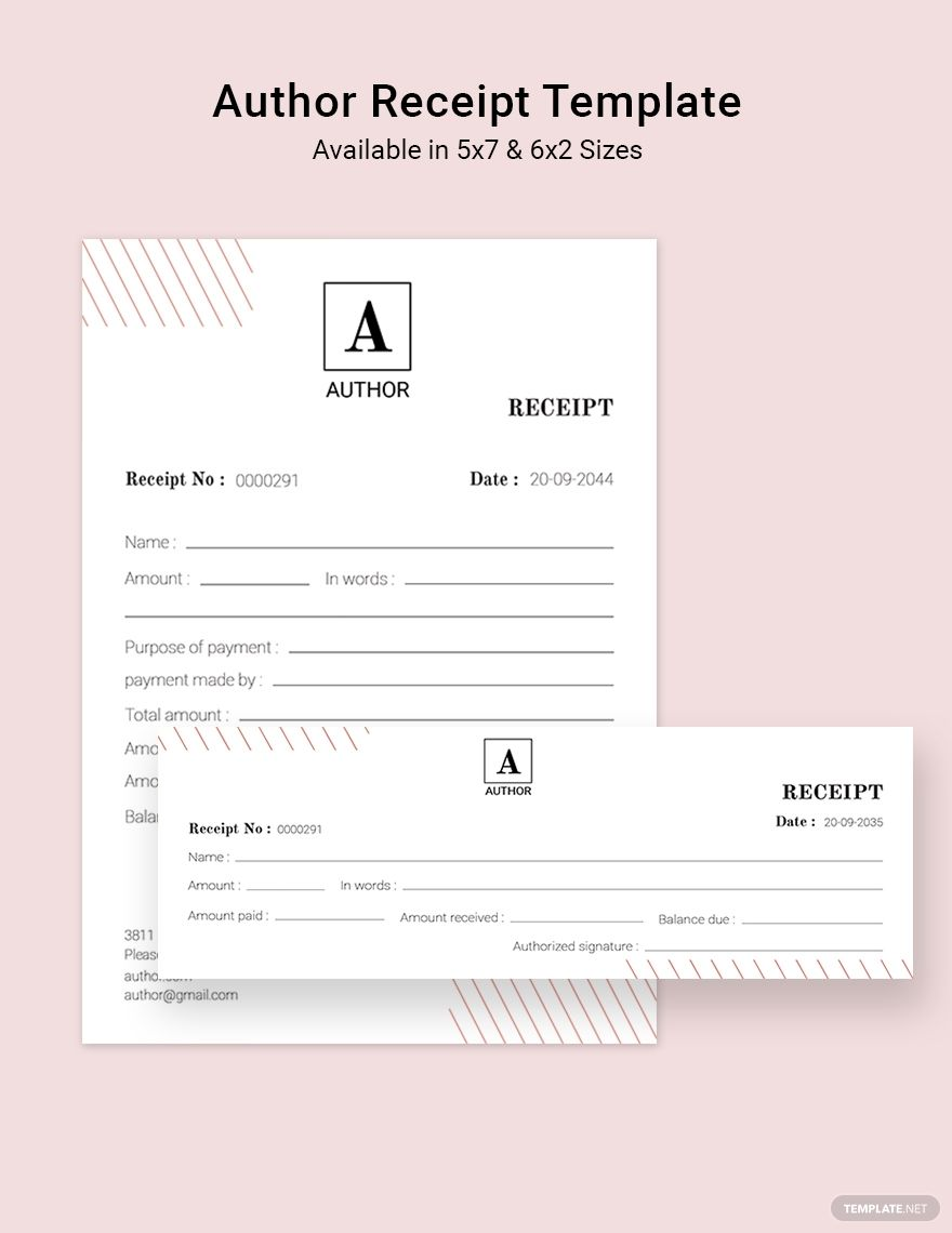Author Receipt Template Word Psd Indesign Apple Pages Illustrator Publisher Receipt Template Templates Document Templates