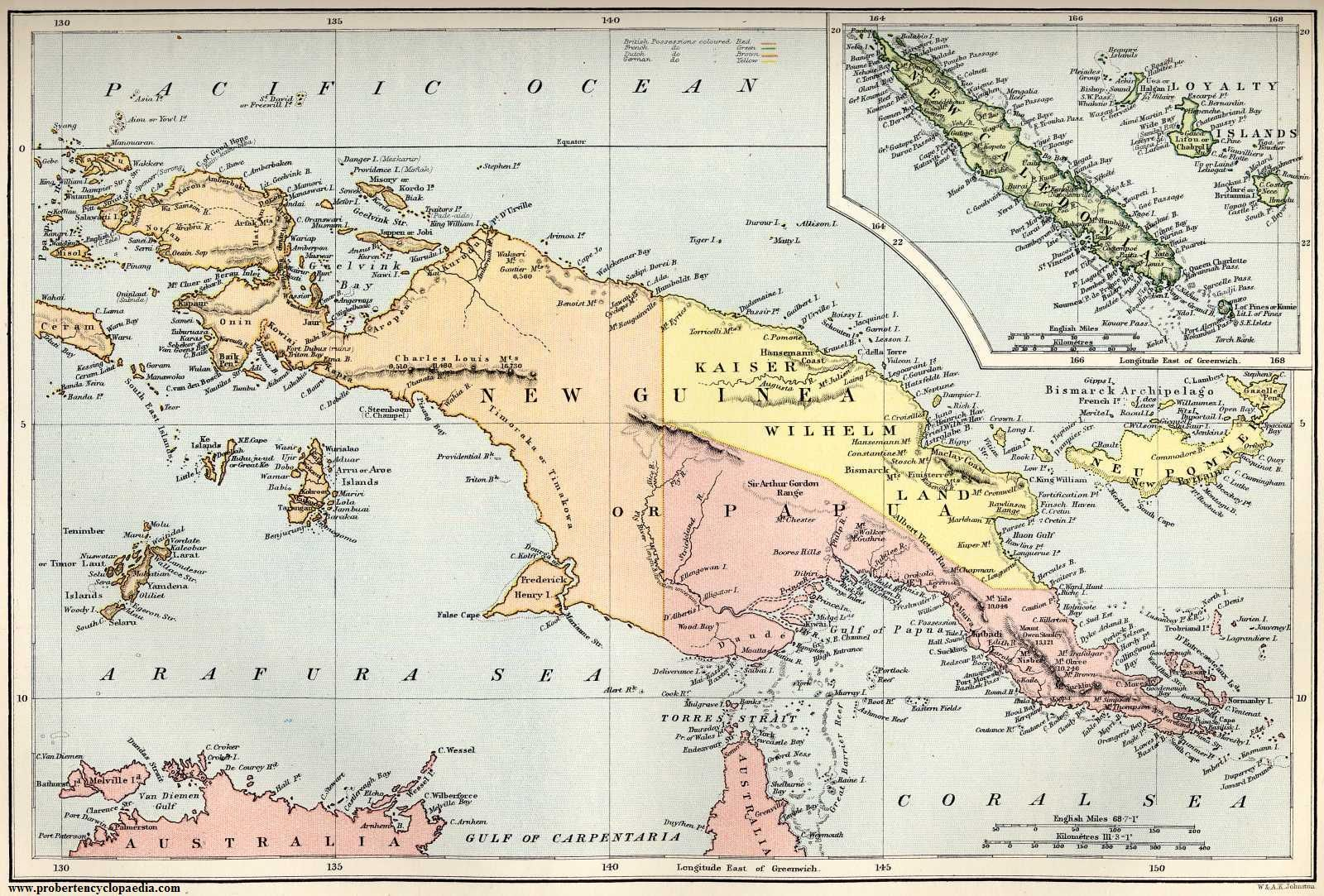 Map of New Guinea and New Caledonia 1884  | New Guinea | Map