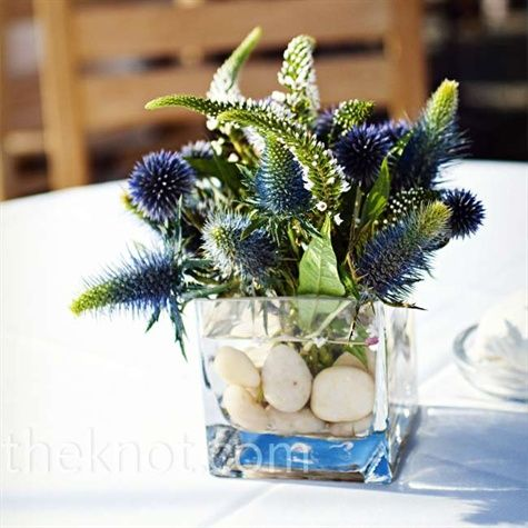 Wedding Reception Blue Small Flowers Thistle Decor