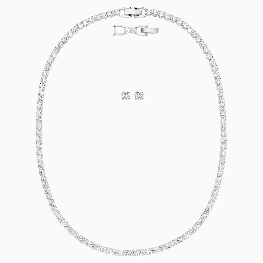 Tennis Deluxe Set White Rhodium Plated Swarovski Necklace Lengths Plating