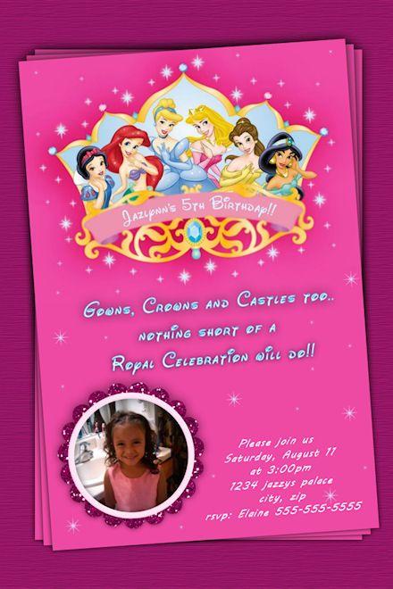 Disney Princess Birthday Invitation princess party Pinterest