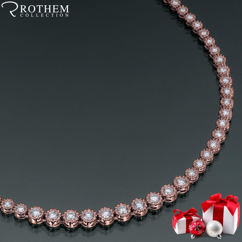 Rose Gold Diamond Tennis Necklace By Rothem Collection Diamond Tennis Necklace Eternity Necklaces 14k White Gold Necklace