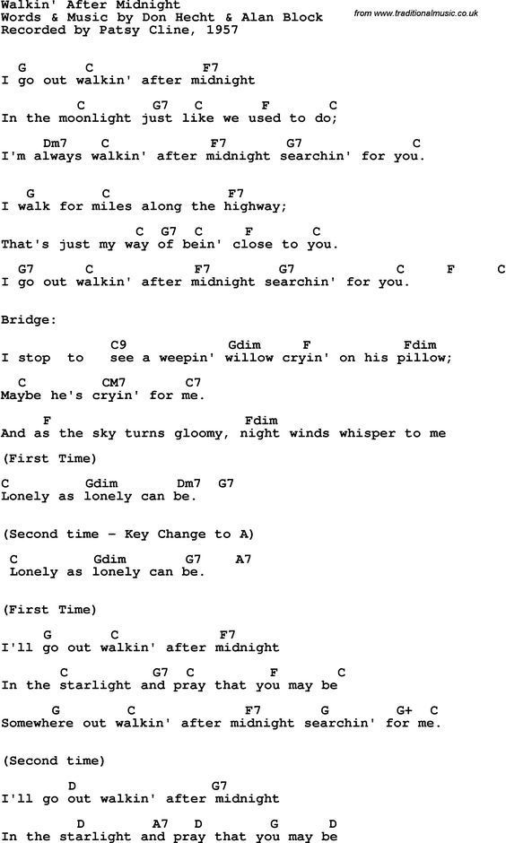 Song Lyrics with guitar chords for Walkin\' After Midnight - Patsy ...