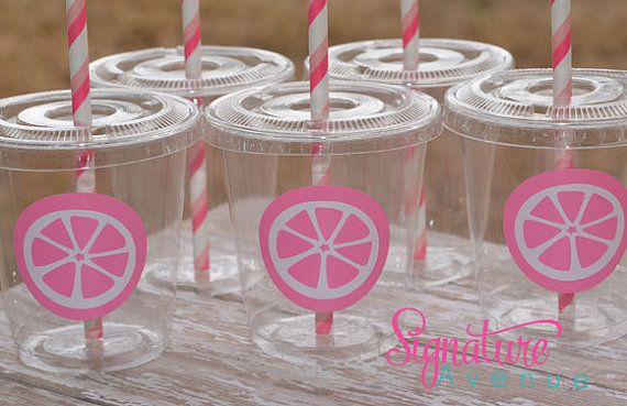 Pink Lemonade Birthday Party Cups-Pink Party Cups-Lemon Slices (for pool parties)