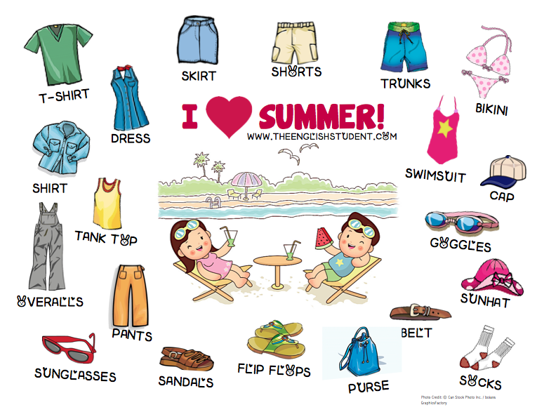 ESL, ESL teaching ideas, summer clothing, ESL vocabulary, clothing ...