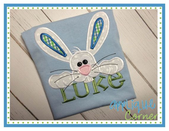 Boy/'s Peeking Bunny Easter Applique Shirt
