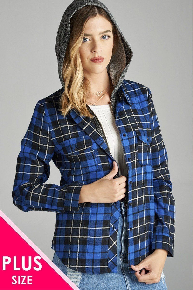 23a26e4c5a7 Ladies fashion plus size long sleeve two tone terry mixed hoodie plaid