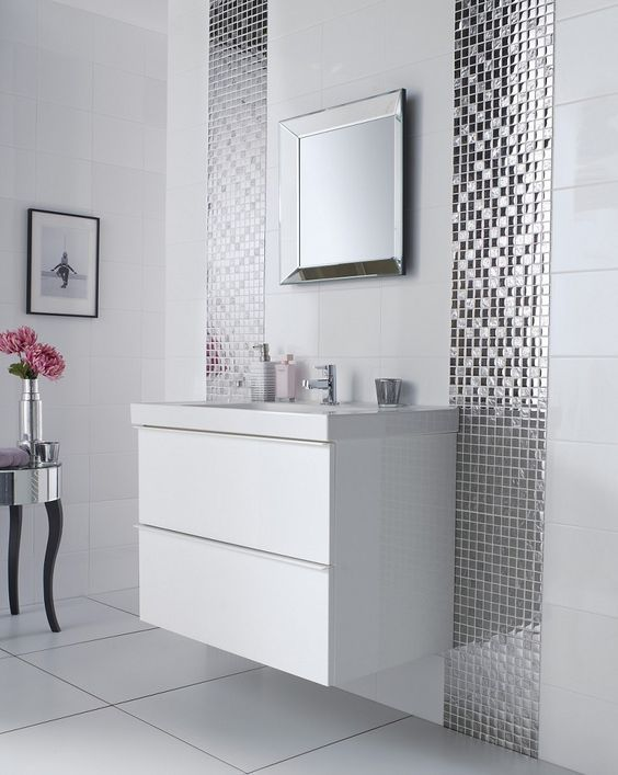 37 Ideas To Use All 4 Bahtroom Border Tile Types Mosaic Bathroom Tile White Bathroom Tiles Mosaic Bathroom
