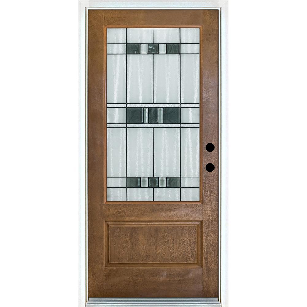 Mp Doors 36 In X 80 In Savana Medium Oak Left Hand Inswing 3 4