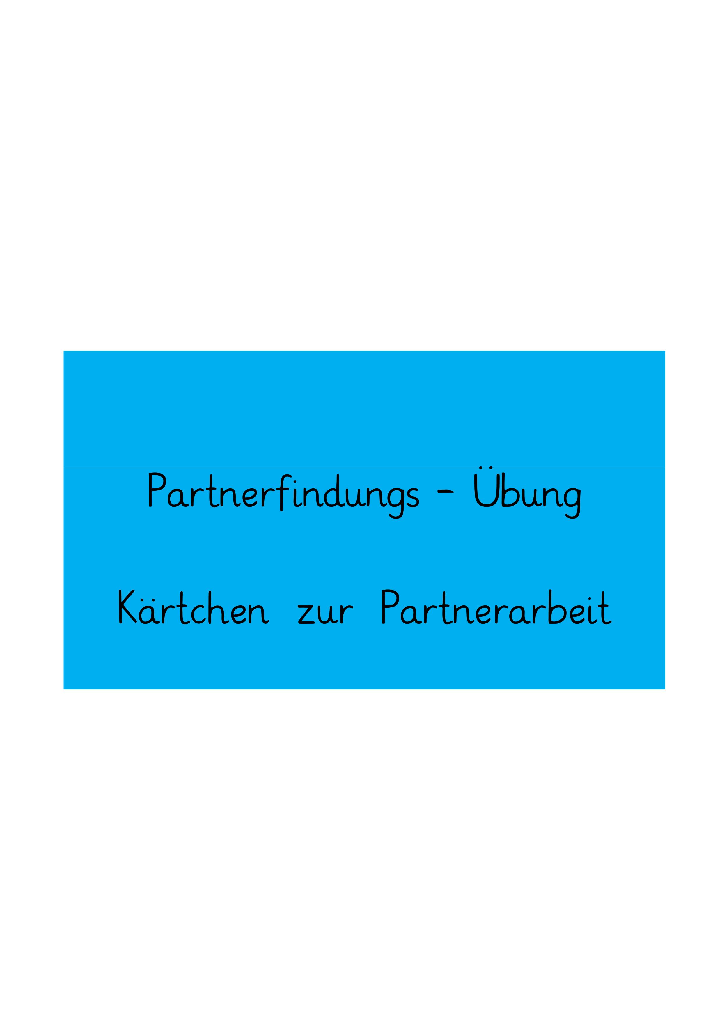 Partnerfindung Im Englischunterricht