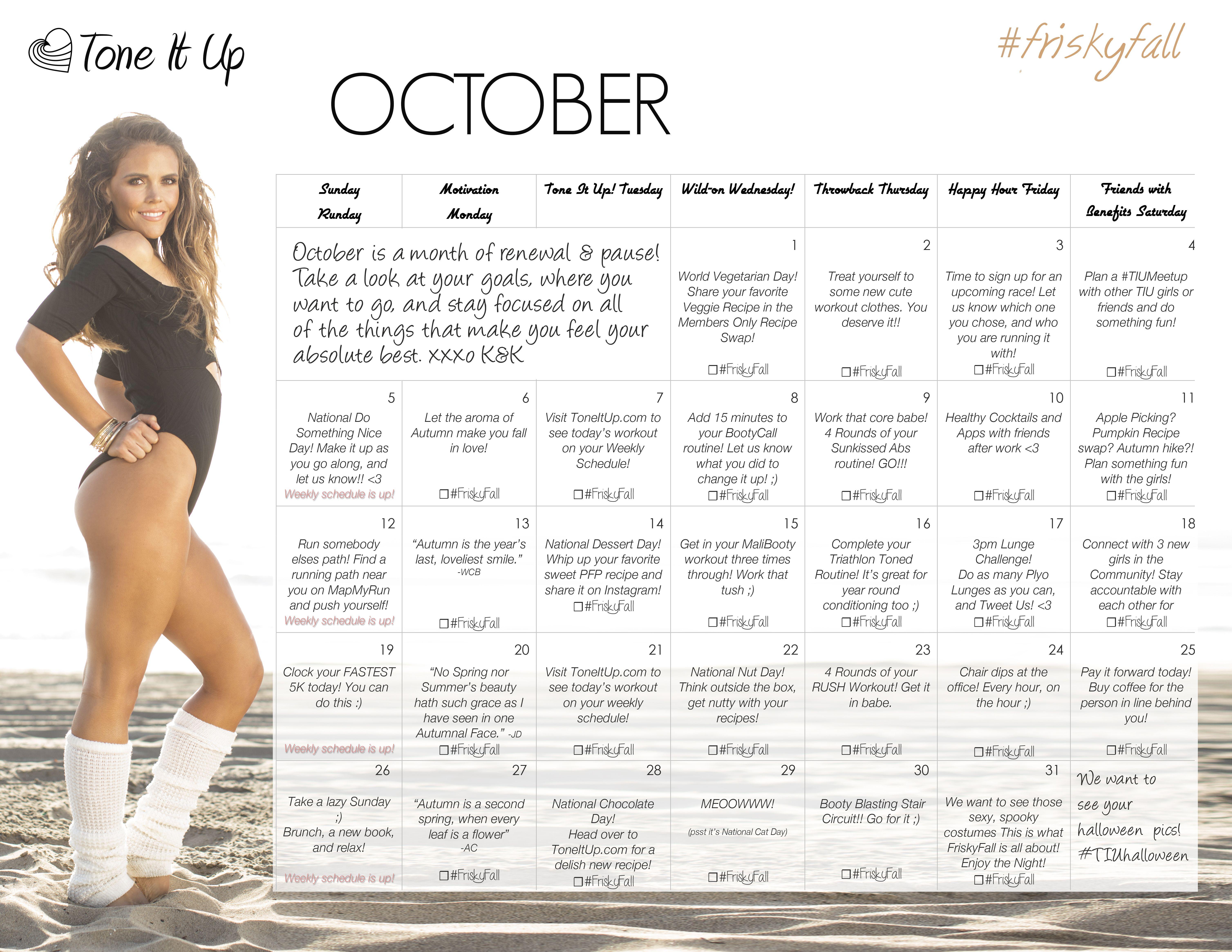 Frisky Fall Fitness Challenge ~ Week 6 Schedule!