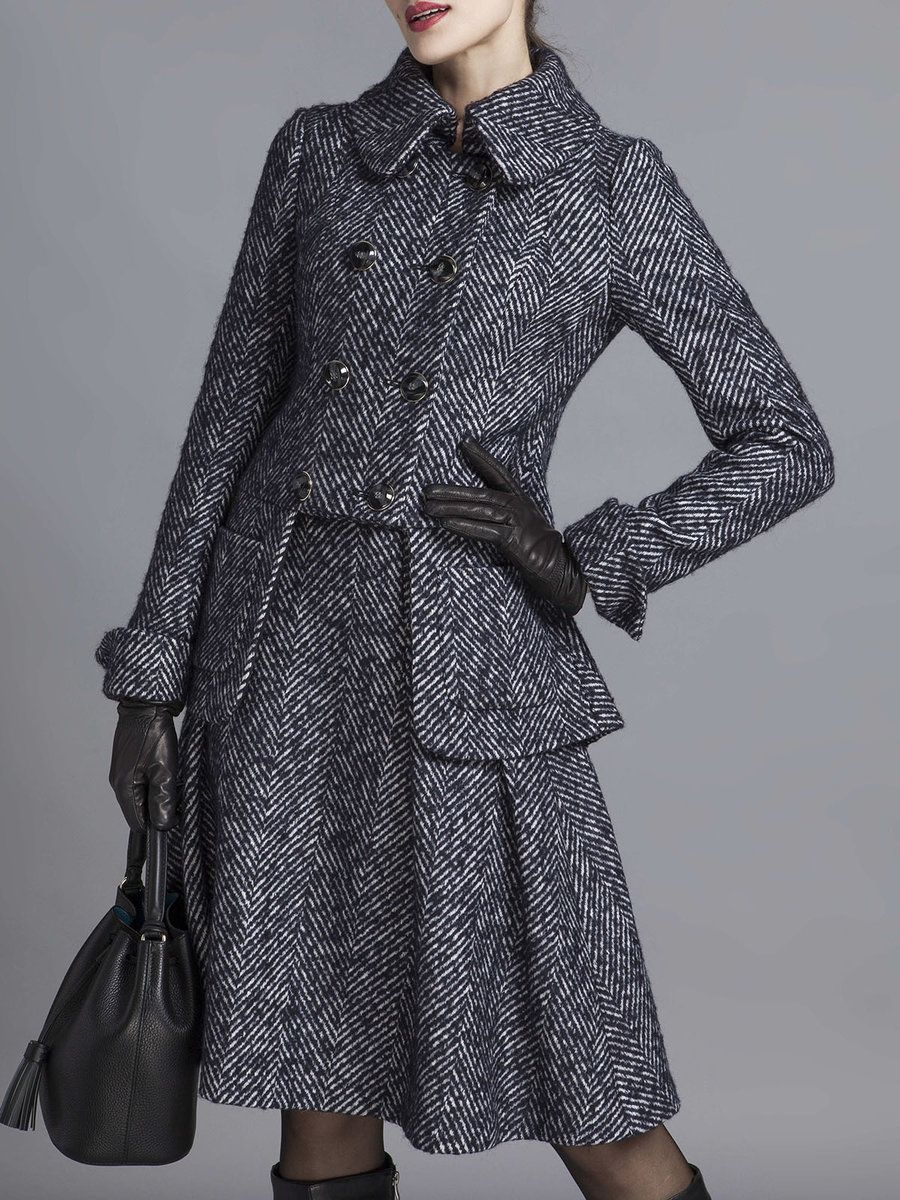 Shop Midi Dresses - Long Sleeve Plain Shirt Collar Two Piece Elegant Midi Dress online. Discover unique designers fashion at StyleWe.com.