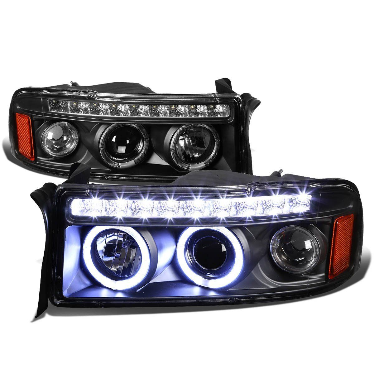 94 01 Dodge Ram 1500 2500 3500 Angel Eye Halo Led Projector Headlights Black