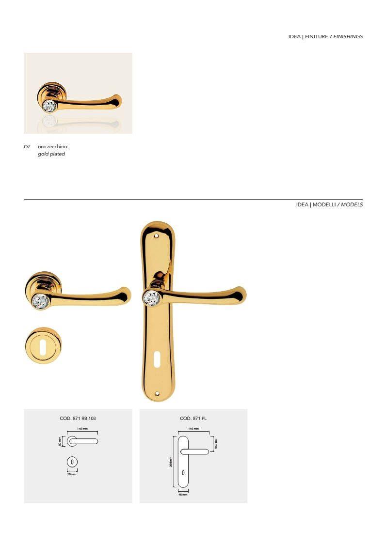 Idea Crystal Modern Brass Door Handles With Swarovski Crystal