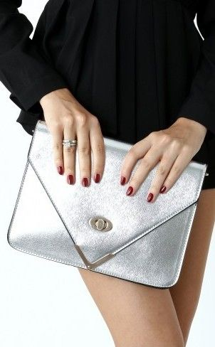 Silver Metalic Twisted Metal Pointed Tweed Envelope Clutch Bag #clutch #bag www.loveitsomuch.com