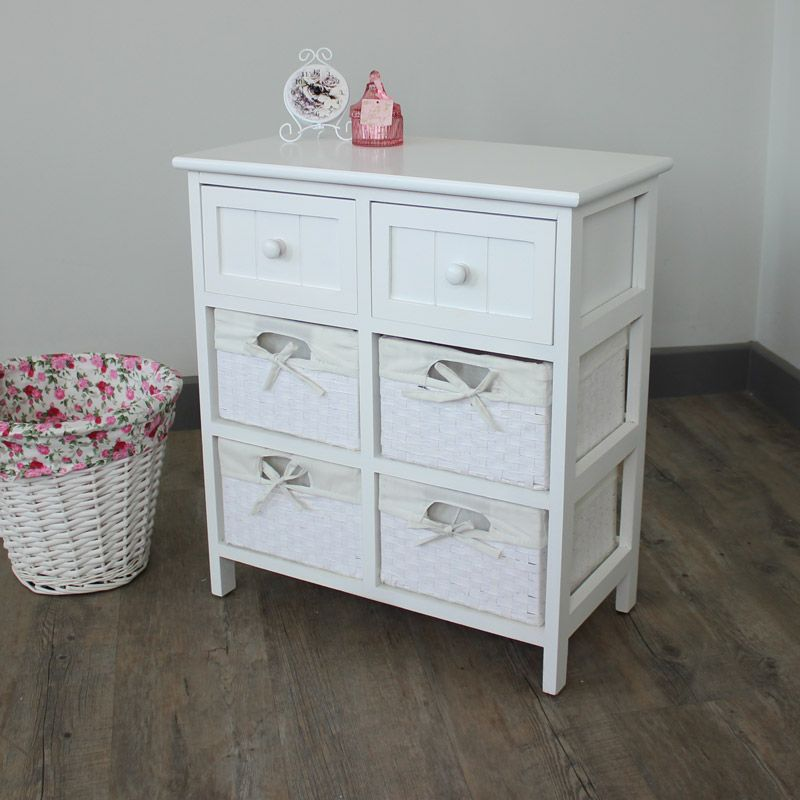 White Storage Unit 4 Baskets 2 Drawers Wicker Baskets Storage White Storage Wicker Basket Storage Unit