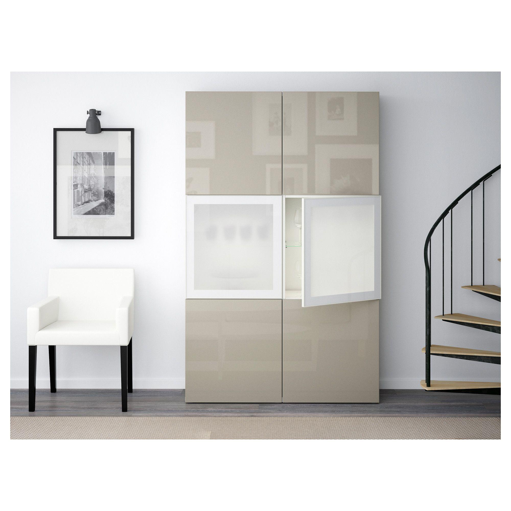 Besta Storage Combination W Glass Doors White Selsviken High Gloss Beige Frosted Glass Glass Door Ikea Ikea Cabinets