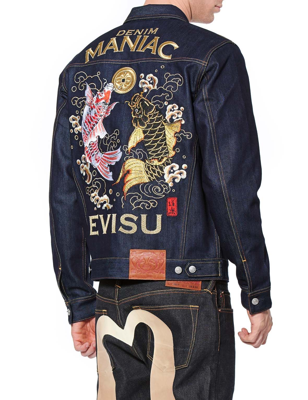 Denim Trucker Jacket With Carp And Kamon Embroidery Jackets Trucker Jacket Denim [ 1530 x 1180 Pixel ]
