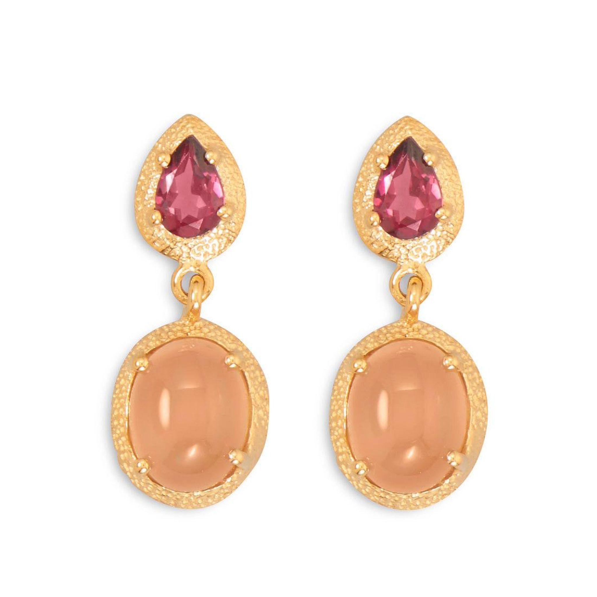gold with earrings garnet rose rhodolite diamonds in tw