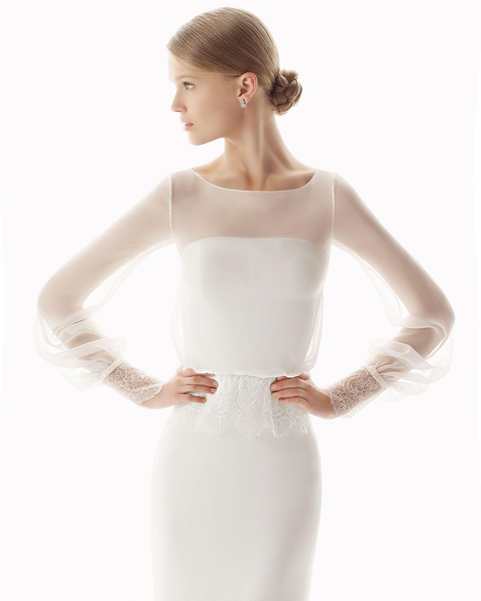 Charming A-line Long Sleeve Lace Sweep/Brush Train Chiffon Wedding ...