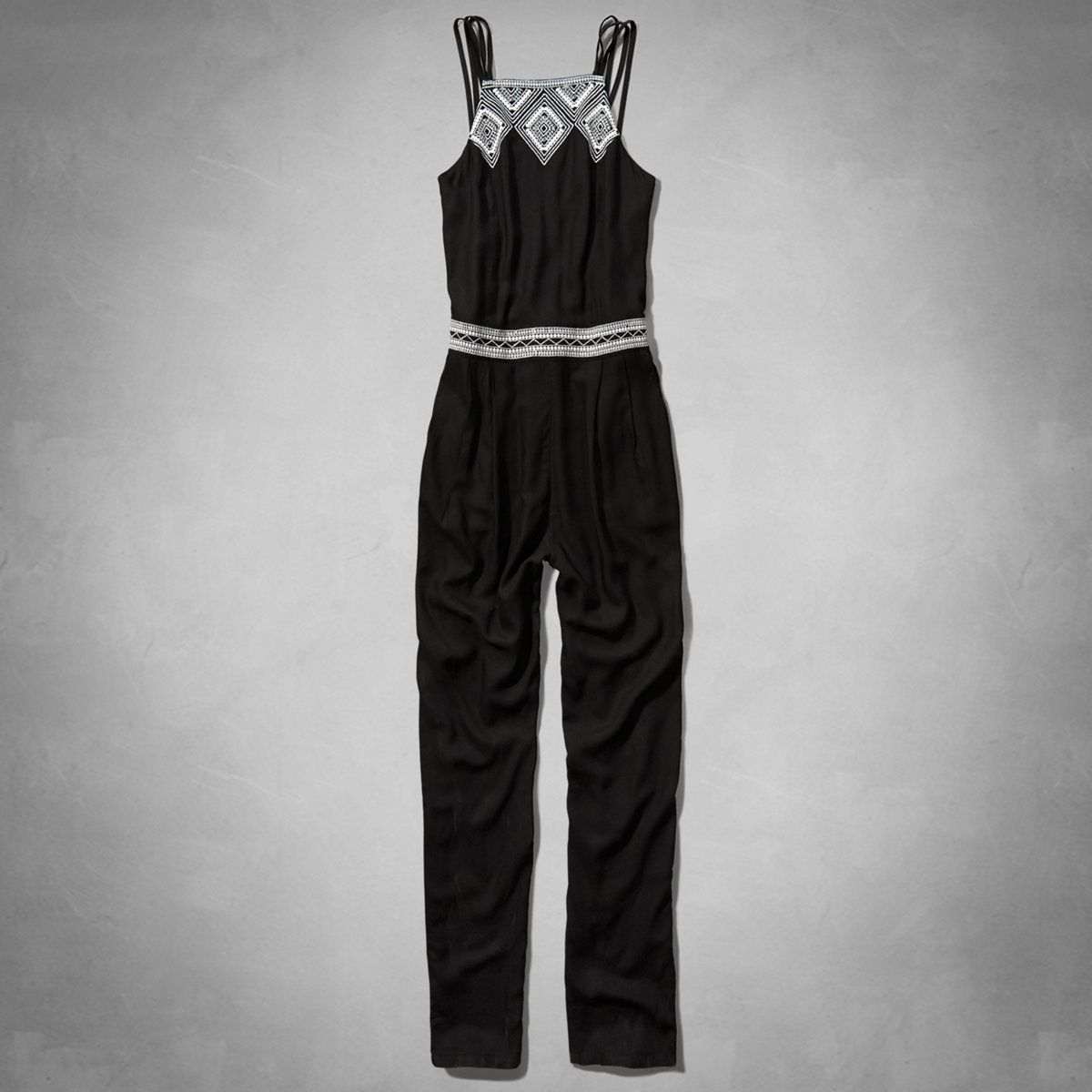 Womens Embroidered Strappy Jumpsuit | Supersoft and drapey jumpsuit with an easy slim fit, strappy detailing and embroidery at waist and neckline | Abercrombie.com