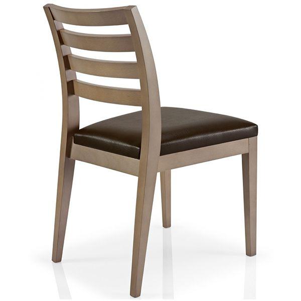 Silla para restaurante en madera tapizada modelo cassis for Modelos de sillas de madera para comedor