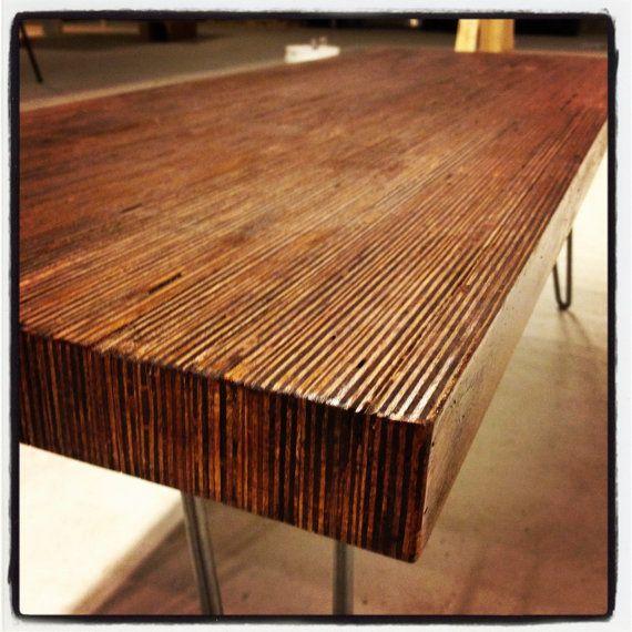 Modern Coffee Table   End Grain Baltic Birch On Eames Style Hairpin Legs