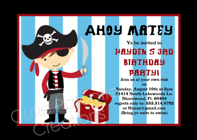 pirate birthday party invitation - Google Search | 1st birthday ...