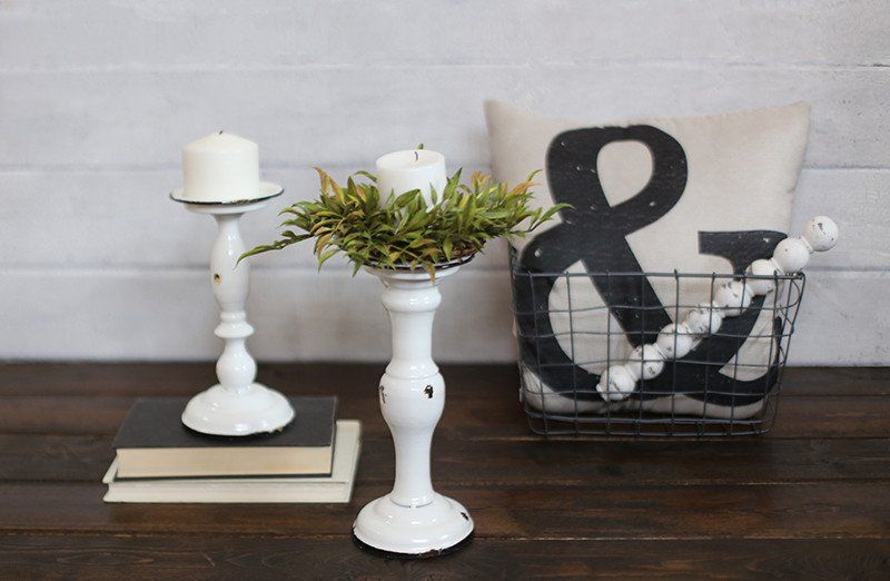 Distressed candle holders set of 3 candle holders