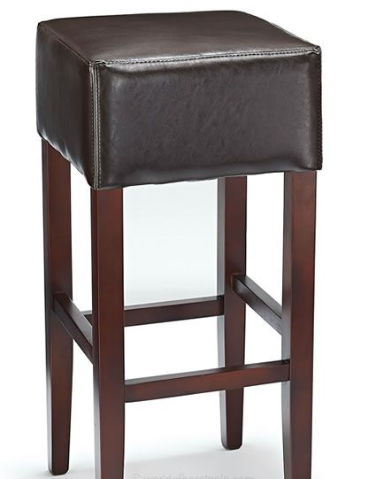 Rhone Brown Real Bonded Leather Walnut Frame Bar Stool No Back With Images Leather Bar Stools Bar Stools Kitchen Breakfast Bar Stools