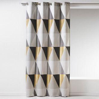 rideau tamisant a œillets polyester triangle scandinave 140x260cm skandic home maison rideau vintage rideaux rideaux geometriques