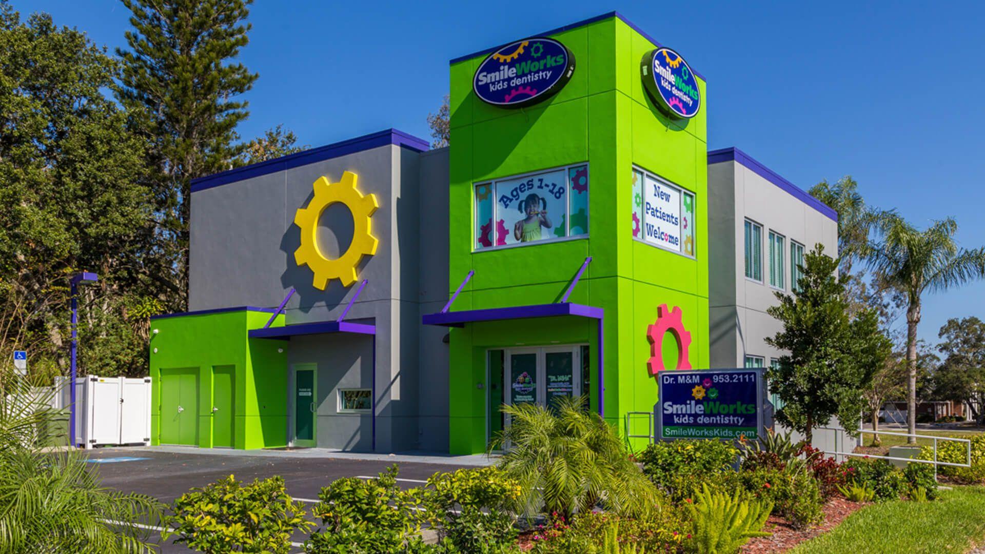 Front Office Of Smileworks Kids Dentistry In Sarasota Fl Daycare Design School Building Design Entrance Gates Design