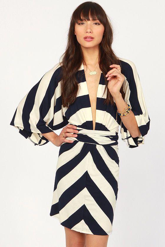 525243f70d Cute Navy Blue and White Dress - Striped Dress - Kimono Dress -  63.00