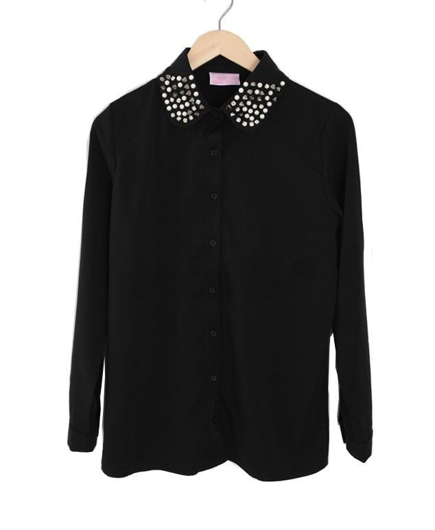 Embellished Chiffon Blouse with Peter Pan Collar Details