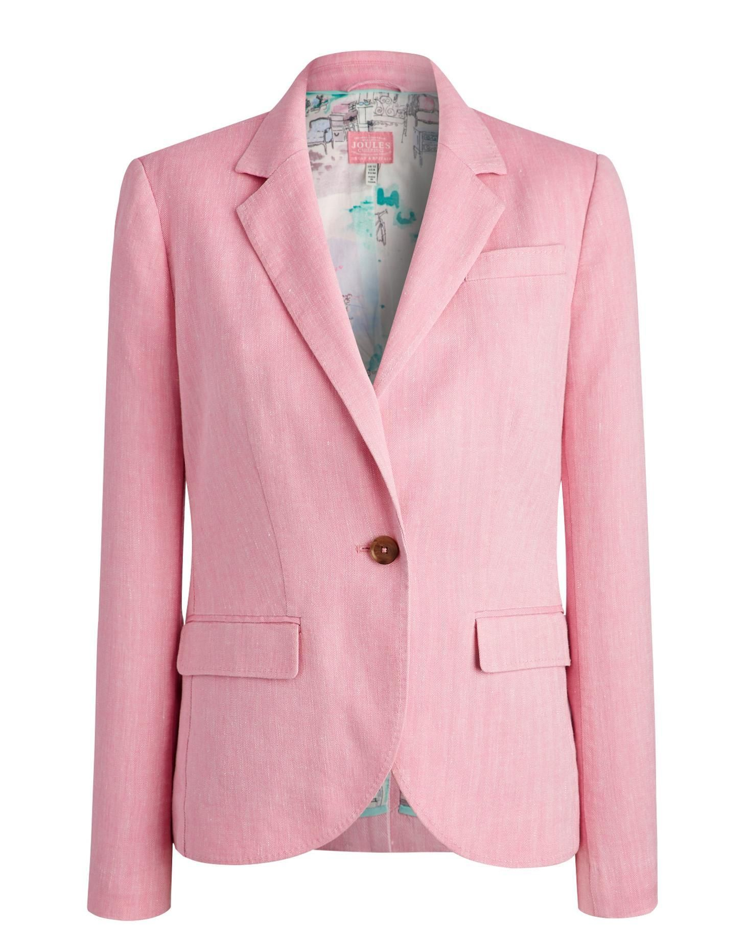 Joules Womens Linen Blazer, Pretty Pink. This soft washed linen ...