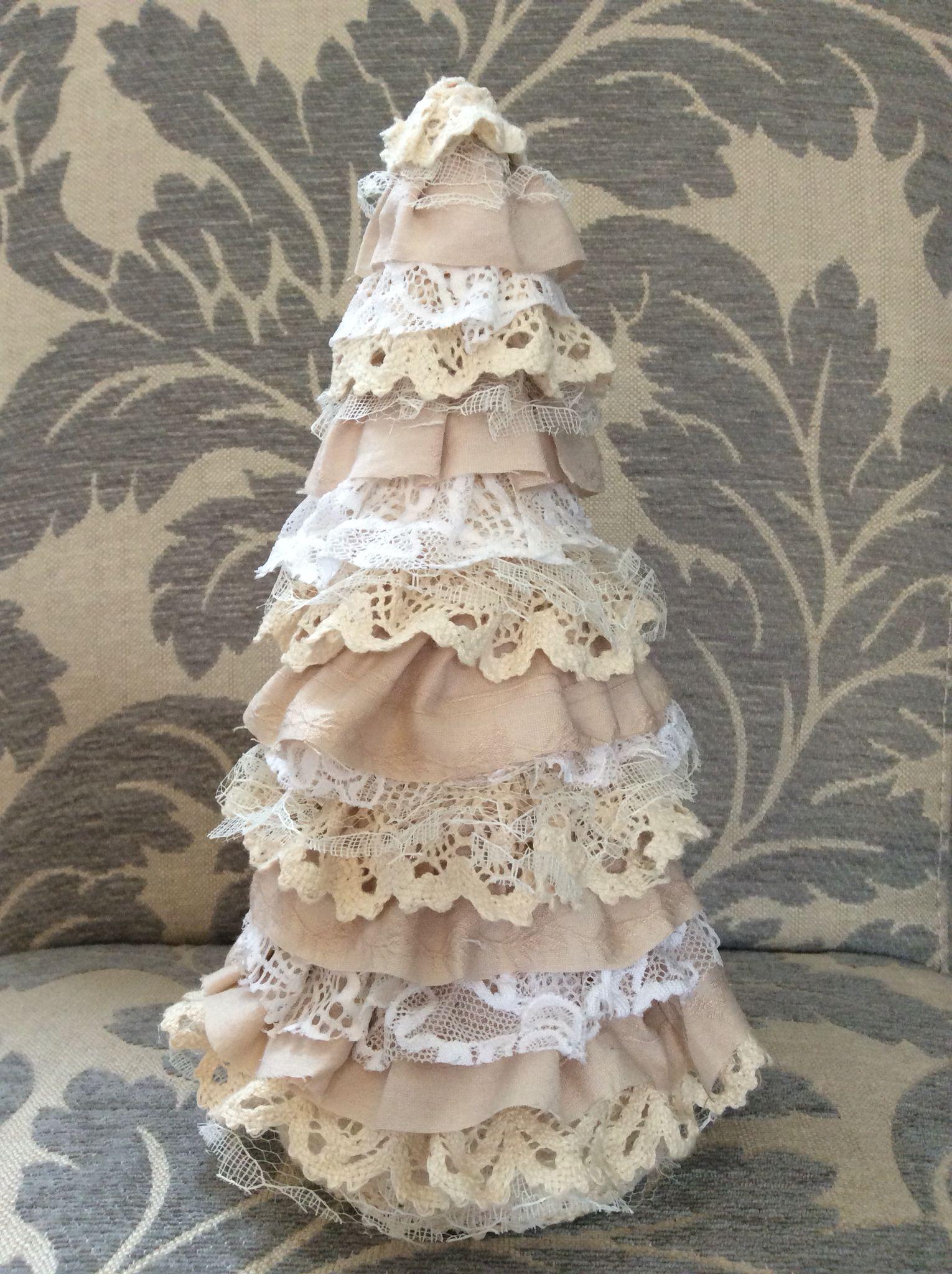 handmade shabby chic lace christmas tree diy christmas tree shabby chic christmas decorations handmade - Handmade Shabby Chic Christmas Decorations