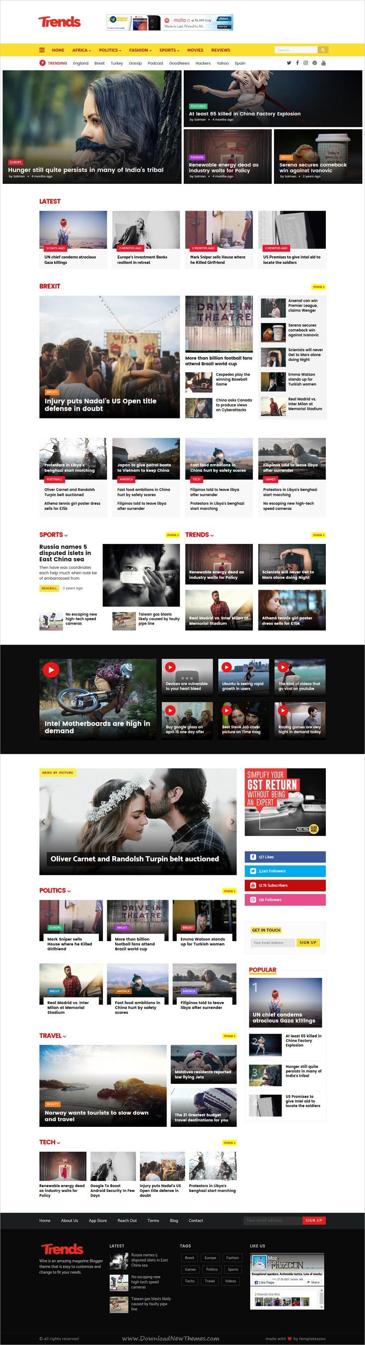 Trends - News/Magazine Responsive Blogger Template   Template