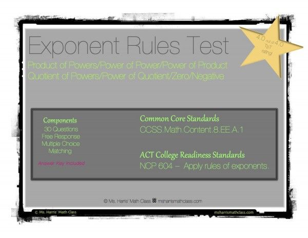 Exponent Rules Unit Test | algebra 1 tests | Algebra 1, The