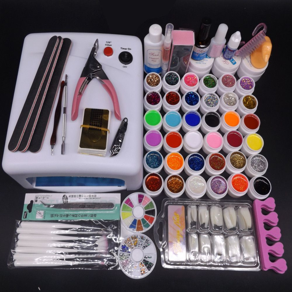 Pro 36 w UV Lamp Nail Gel Kit 36 UV Gel Solid Glitter UV Gel Sets ...